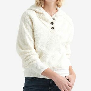 NWT Lucky Brand Ivory Hooded Pullover Sweatshirt
